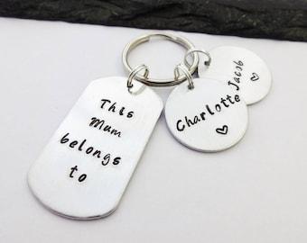 Mum Keyring, Mum Gift, Hand Stamped Keyring, This Mum Belongs To Keyring, Personalised Keyring, Keychain, Mothers Day Gift, Gifts For Mum