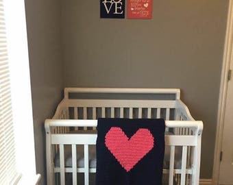 Crochet Heart Baby Blanket