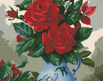 Cross stitch pattern PDF roses, Cross stitch pattern PDF rose, Cross stitch pattern PDF flowers, Cross stitch pattern bouquet of red roses