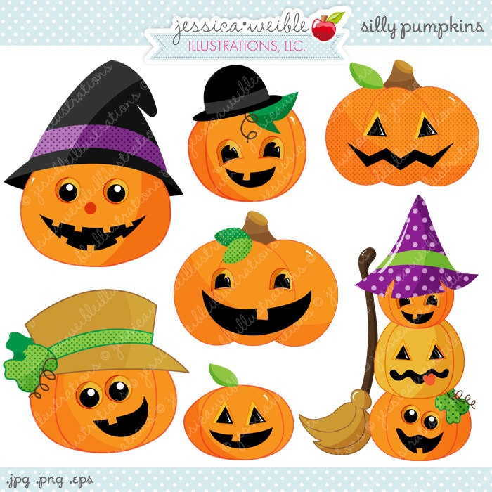 Silly Pumpkins Cute Digital Clipart Commercial Use OK