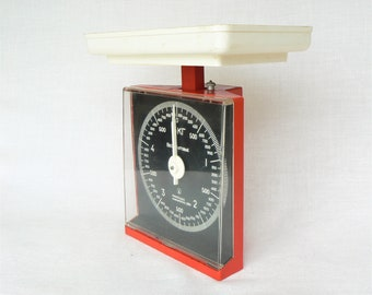 Red TABLE SCALES Vintage/ Retro Kitchen Scales to 5 kg/ Mechanical Table Scales/ Russian Vintage Kitchen Appliances/ USSR 1970s