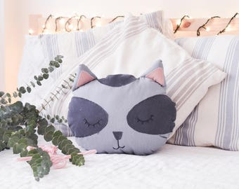 Raccoon Pillow . Decorative Pillow . Kids Decor . Nursery Decor . Baby Cushion . Throw Pillow