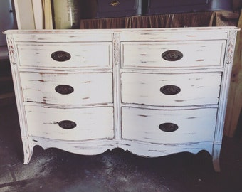 Shabby Chic Dresser White Distressed Farmhouse Style Changing Table Buffet