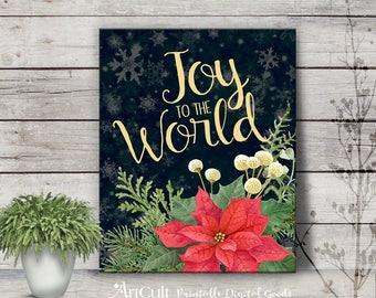 Printable artwork JOY to the WORLD, Christmas eve embellishment, holiday home decoration print, instant downloadable art ArtCult designs