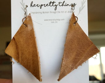 Handcut Leather  Triangle Geometric Earrings  || Hypoallergenic
