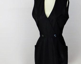 Vintage 60's Black Dress with Button Detail & Pockets V-Neck S