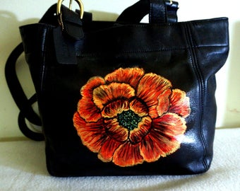 "Vintage Coach Leather Handbag, Soho Style H8Z-4157, ""Grand Poppy"", Hand Painted, One of a Kind"