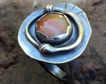 Modern Bohemian Orange Agate Ring - Oxidized Sterling Silver Artisan Metalwork Jewelry w/ Oregon Beach Pebble - BOHO Fall Fashion