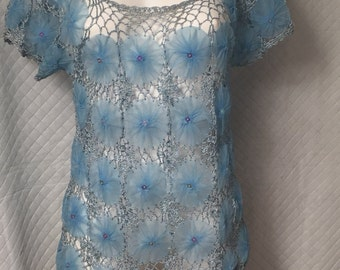 vintage 1940s fashion top, blue tulle flower,iridescent sequins , crochet trim, Hollywood glamour,