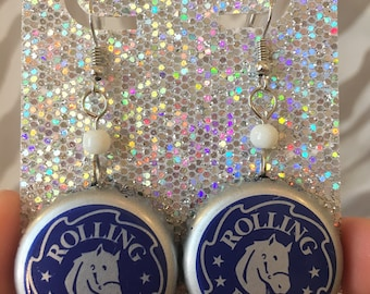 Recycled Bottle Cap Earrings- Rolling Rock Beer
