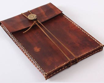 Dark Brown Vegetable Tanned Leather Kindle Case, Kindle Paperwhite Case, E-reader Cover
