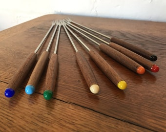 Teak Handled Fondue Forks with Colorful Plastic Tips - Set of Eight (8)