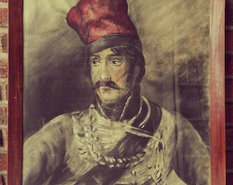 Old Pastel painting depicting a military-hussard of the first Empire. France. Nineteenth century