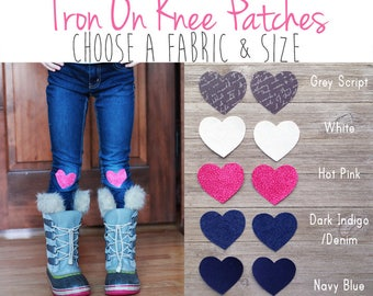 Heart Patch Iron on Knee Patches (Set of 2) / Iron on Heart / Patches for Girls Jeans / Denim Patch / Iron on Heart Patch Appliqué