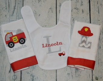 Personalized Firetruck Bib and Burp cloth Set Monogrammed Little Fireman