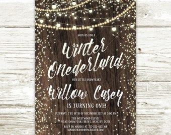 Rustic Winter Onederland Birthday Invitation, String Lights and Wood Snowflake Winter Onederland Party Printable Invitation