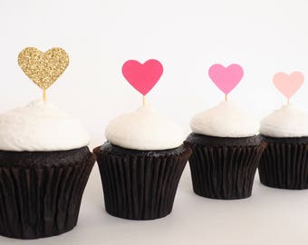 READY TO SHIP! Mini heart cupcake toppers | Ombre pink gold glitter love heart toppers | Baby shower toppers | Engagement toppers