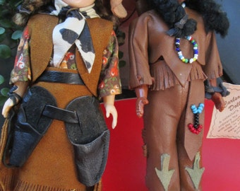 Cowgirl and Indian collectible Dolls by Carlson Dolls  American Indian and her friend the Cowgirl dolls both in leather outfits vintage doll