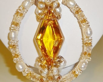 "Natural 116 ct Fancy Golden Citrine gemstone, 14kt yellow gold 20"" Necklace"