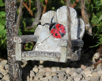Ladybug Swing for the Fairy Garden 1.5″ Tall | 2″ Wide | 2″ Deep | 5″ String to Hang