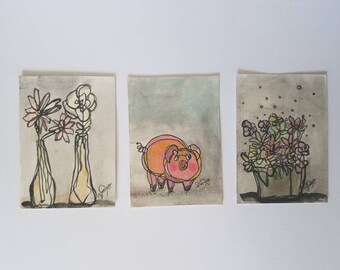 Love In Gray - SET of three original aceo drawings