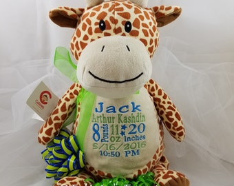Birth Announcement Giraffe Personalized Stuffed Animal Baby Gift Cubbie Stuffie, from Felicia's Fancies Baby Boutique