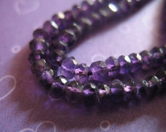 Shop Sale.  ROYAL AMETHYST  Rondelles Beads, Luxe AAA, Faceted, 3-4 mm, 1/2 Strand, Dark Purple  brides bridal  february birthstone