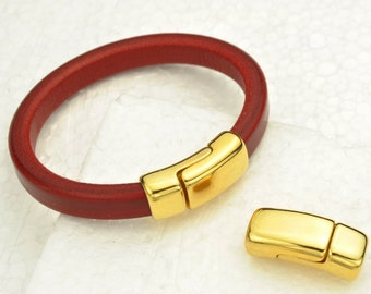 Overlap Magnetic Clasp for Licorice Leather - Gold  Clasp-  for Leather Bracelet - Fits 10x6mm Cord (Qty.1)