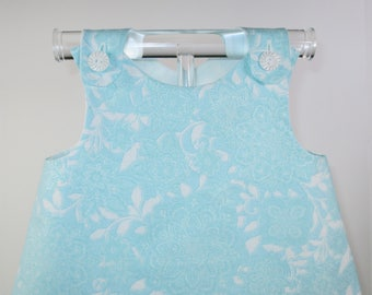 ELLA - Tea Party Dress - Size: 9-12 months, Teal, Blue, White, Baby Girls' Clothing, Dresses, Baby Girl Dress, Cotton, Handmade
