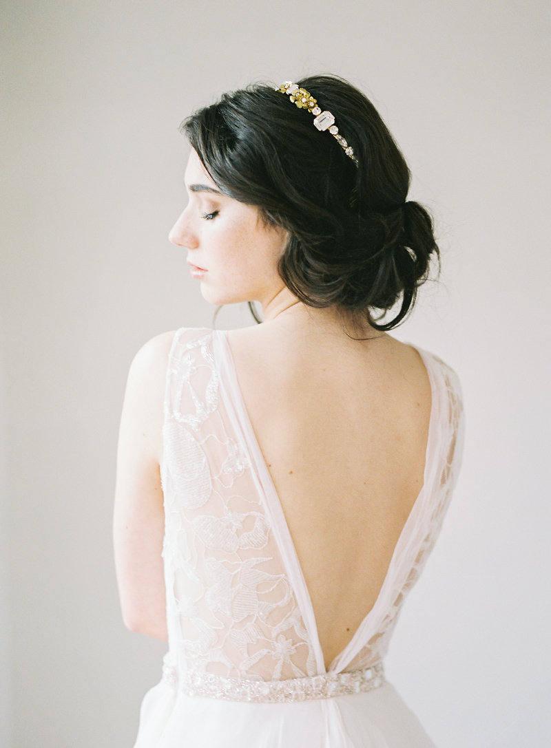 Gold Crystal Flower Bridal Crown Gold Headpiece Silver