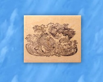 Sea Turtle in Waves mounted rubber stamp, ocean wave, Japanese, marine life, Sweet Grass Stamps No.12