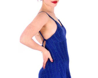 Vintage Womens Swimsuit Bathing Suit Royal Blue Textured Lastex 1930s 34 Bust Small