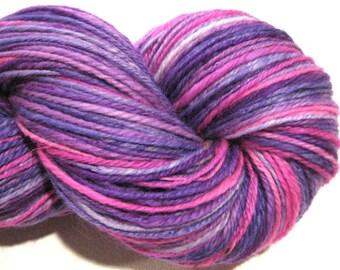Handspun yarn, Unicorn, DK weight, 3 ply, self striping 338 yards Superwash BFL Nylon, sock yarn, purple pink knitting supplies, crochet