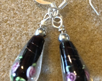 Rose lamp work Black teardrop beaded earrings