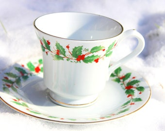 Post Holiday Sale! Teacup and Saucer- China Pearl Fine China Noel- Liling China