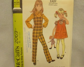 Vintage Mid Century McCall's Pattern 2069 Child's Jumpsuit, Jumper and Blouse Size 4 Factory Fold