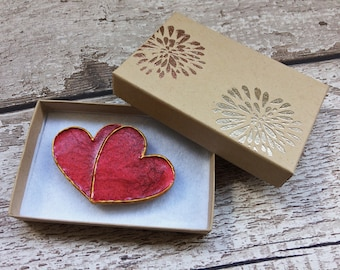 Double Heart Magnet, Made from Wood and Painted in Carmine Red and Venetian Gold With Hand-Embossed Gift Box