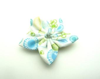 Floral multicolor 100% cotton fabric kanzashi flower white background