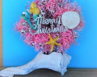Pink Mermaid Tinsel Wreath, Mermaid Wreath, Mermaid ornament, Starfish Wreath, Sand dollar wreath,Nautical ornament, Coastal mermaid wreath