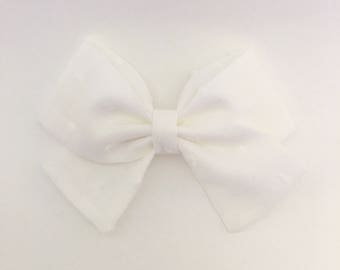 White swiss dot Reagan bow