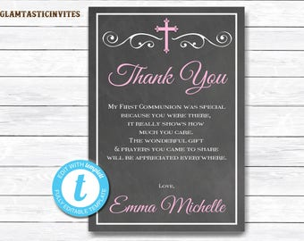First Communion Thank You girl, Girl First Communion Thank You, First Communion Thank You Printable, INSTANT DOWNLOAD, Baptism Thank You