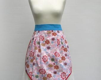 Pink floral waitress apron - women's half apron - 1950s retro style