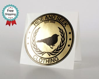 """500 round stickers - 2"""" diameter glossy round labels - metallic gold or silver stock -  custom printed - on a roll"""