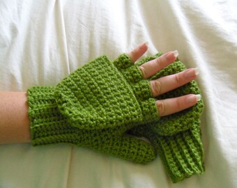 Green Wool Convertible Mittens - Green Wool Blend Convertible Mittens - Green Wool Fingerless Mittens - Green Wool Mittens - Green Mittens