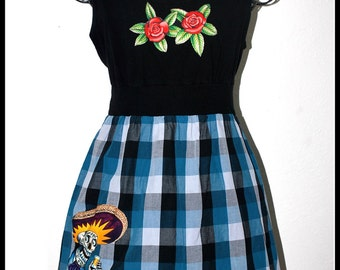 Day of the Dead Rockabilly Dress....Size L
