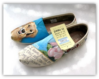 Bride's Love Story Wedding Shoes Custom Hand Painted Shoes Unique Wedding Shoes Custom TOMS Wedding Flats Gift for the Bride Painted TOMS