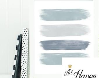 Grey Brushstroke Stripe Wall Art, PRINTABLE Grey Abstract Wall Art, Grey Home Decor, Grey Watercolor Stripe Poster, Gray Wall Art Stripes