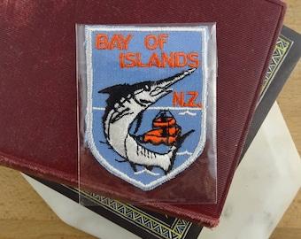 Vintage New Zealand Patch, Bay of Islands , Souvenir Woven Patch, Embroidered Badge, Retro NZ Souvenir