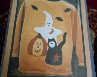 BOO TO YOU Halloween Applique pattern for a purchased shirt or sweater