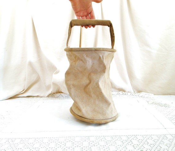 Antique French Off White Collapsible Canvas Fire Bucket, Beige Fabric Folding Water Container from France, Brocante Shabby Country Decor